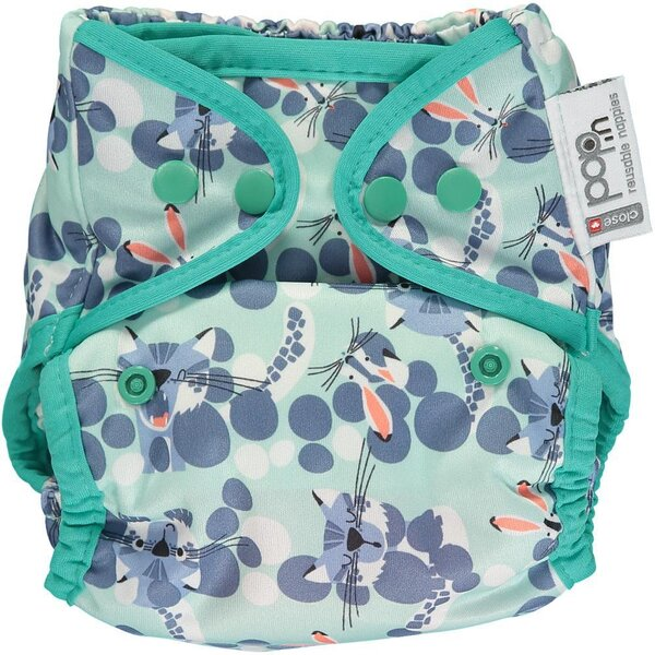Pop-in Reusable Nappy Cover - Snow Leopard - popper