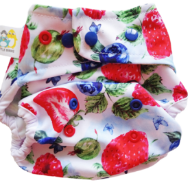 Little Birds OS Nappy Cover - Very Berry
